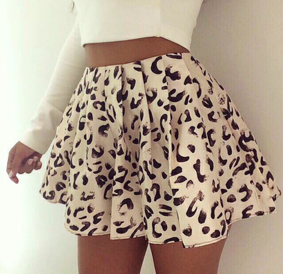 leopard print skirt short white and black