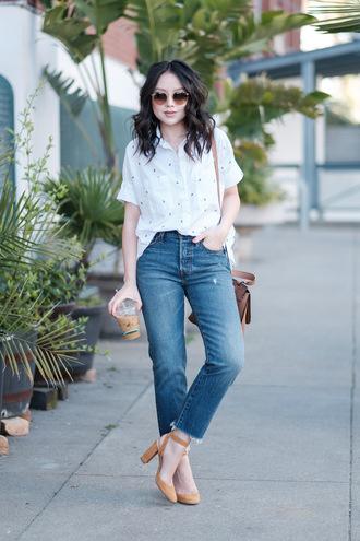 the fancy pants report blogger shoes jeans shirt top bag sunglasses pumps high heel pumps shoulder bag white shirt