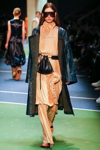 dress purse coat pants fashion week 2016 paris fashion week 2016 runway model sunglasses fall dress celine