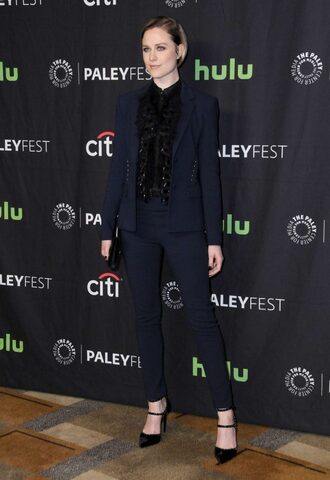 pants blouse pumps evan rachel wood suit