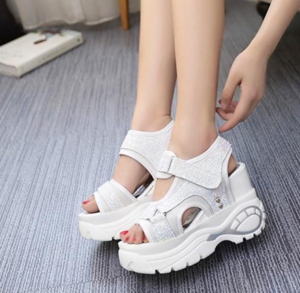 ca073f005c7 shoes 90s style platform sandals platform shoes white flatform sandals  spice girls boots glitter shoes sandals