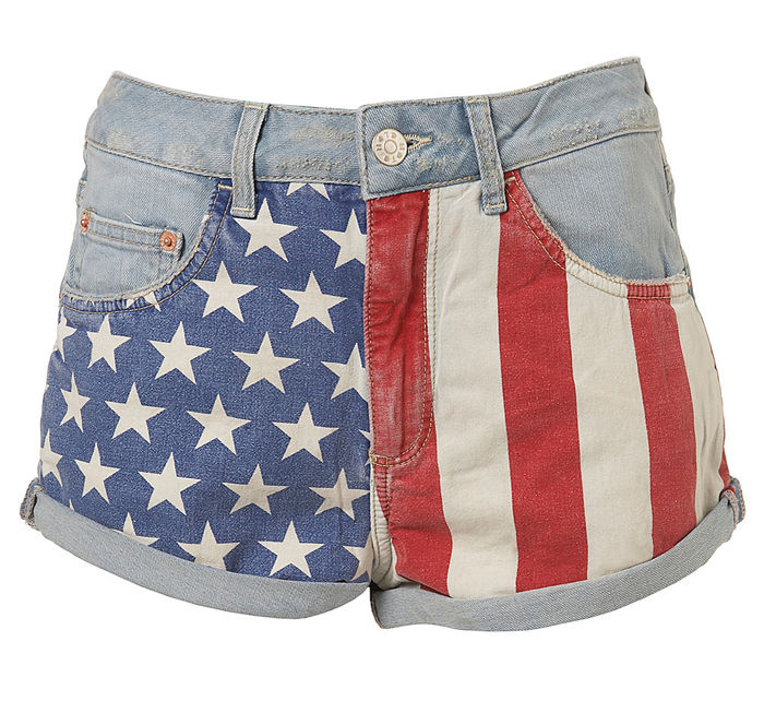 Topshop American flag shorts size 8 | eBay