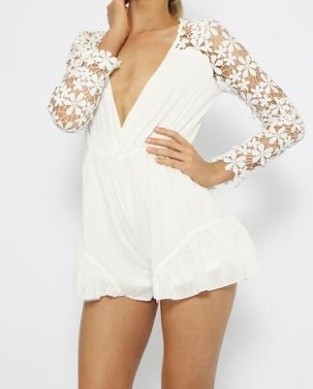 Outletpad | Decorative Flower Long Sleeves Playsuit White | Online Store Powered by Storenvy