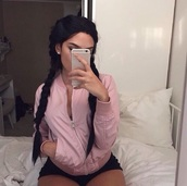 jacket,rose gold,rose,outfit,tumblr,tumblr outfit,tumblr girl,cute top,cute outfits,pink,pink sweater
