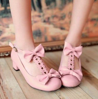 shoes pink bows heart kawaii princess