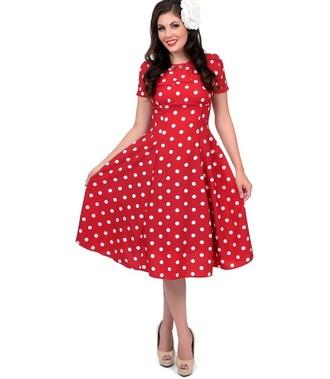 dress polka red white polka dots