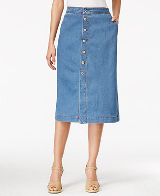 Style & Co. Button-Front Midi Denim Skirt, Only at Macy's - Skirts - Women - Macy's