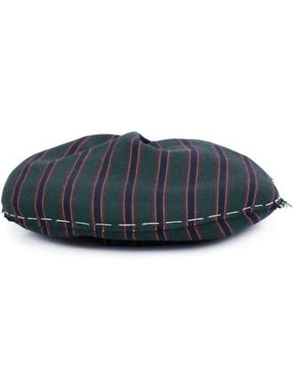 beret stripes green hat