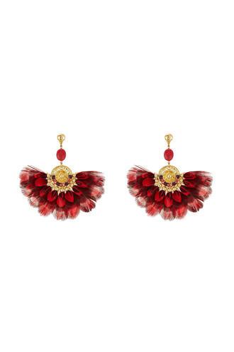 feathers earrings gold red jewels
