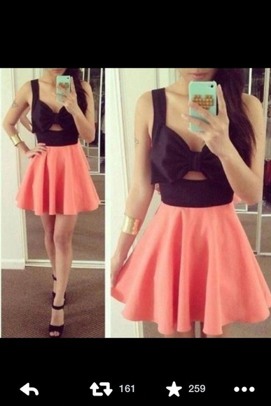 black dress vibrant bows bowdress colorful dress blackdress cute dress fashion fashionable style vibrant color party party dress cutout cutout dress rose pink dress black dresses dressy noir