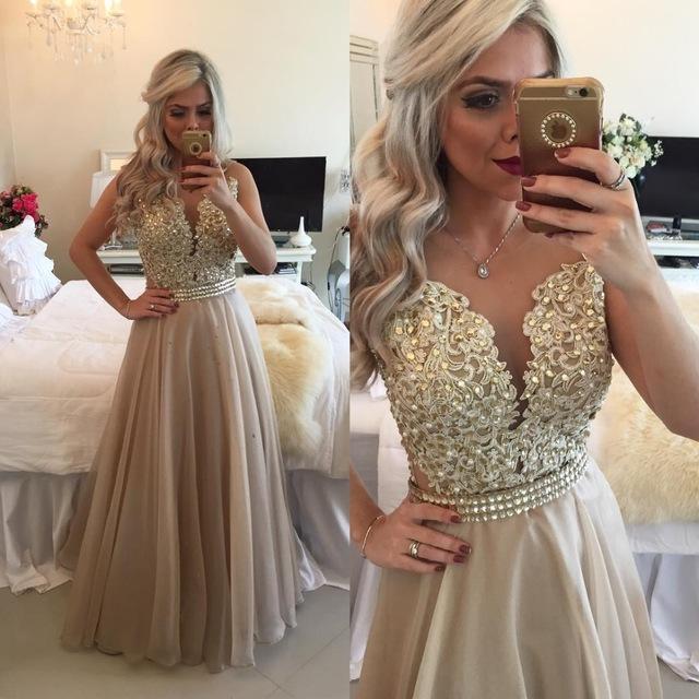 Aliexpresscom Buy Vestido De Festa Longo Gold Prom Dresses 2016