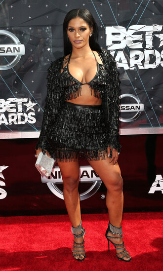 skirt top fringe all black everything joseline hernandez bet awards sandals