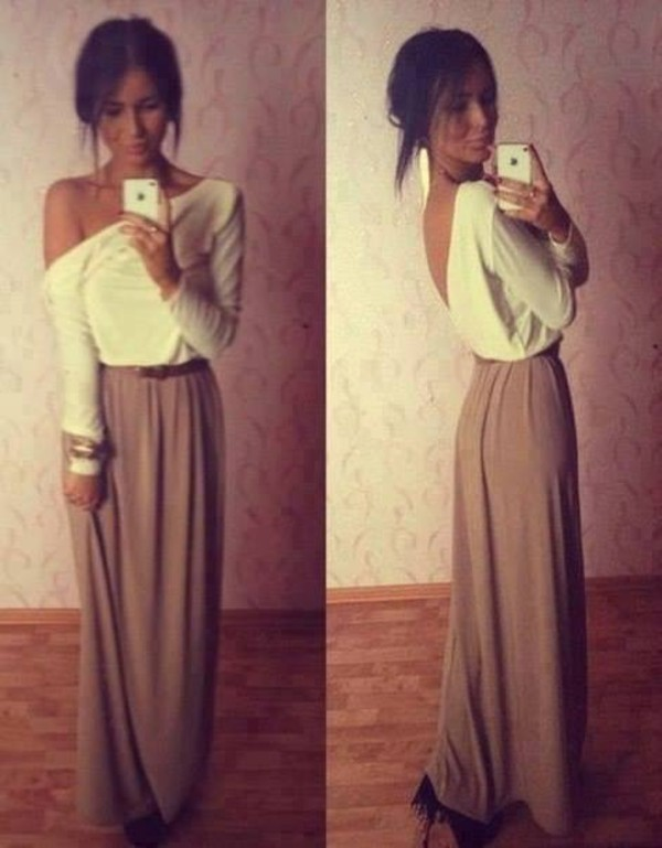 skirt maxi skirt brown t-shirt top blouse shirt white tan long open back dress maxi slouchy dress beige dress plunging back dress robe long sleeves backless off the shoulder top sexy skirt slouchy off the shoulder long sleeve prom dress long sleeve dress white dress brown dress