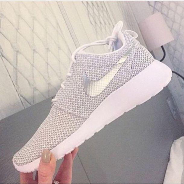 shoes nike sneakers white grey women