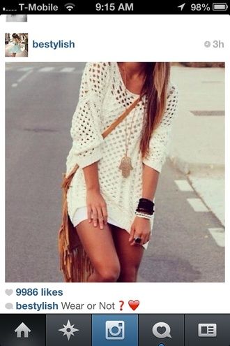 dress crochet ivory sweater dress