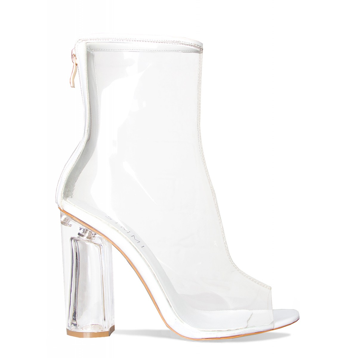 Melissa White Peep Toe Perspex Heel Ankle Boots   Simmi Shoes