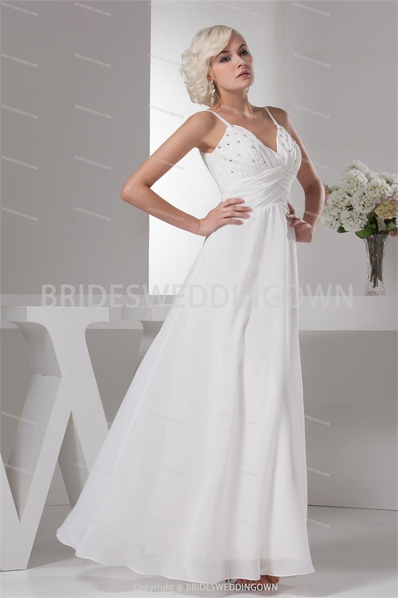 Hot sale white wedding dress beading v neck sleeveless for Simple ankle length wedding dresses