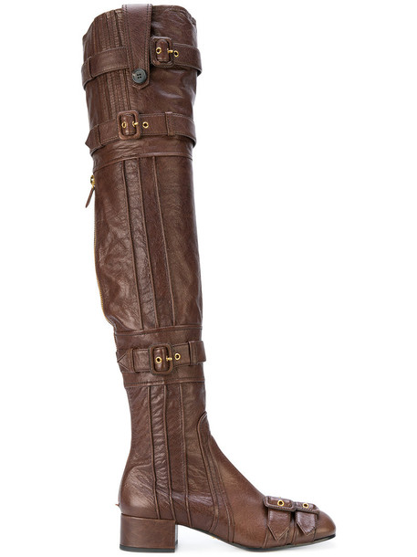 Prada high women buckle boots leather brown shoes