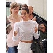 blouse,vanessa hudgens,white,lace,pants,crop tops,t-shirt,cute,fashion,gorgeous,top,style,shirt,white top,white eyelet sweater vanessa hudgensns,whiteoutfit,vanessa boho,classy,elegant,delicate,long sleeve crop top