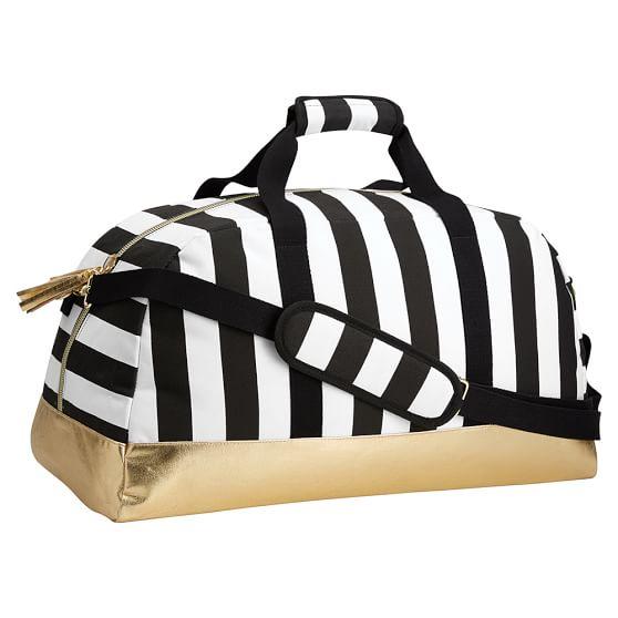 The Emily & Meritt Black/White Stripe Duffle