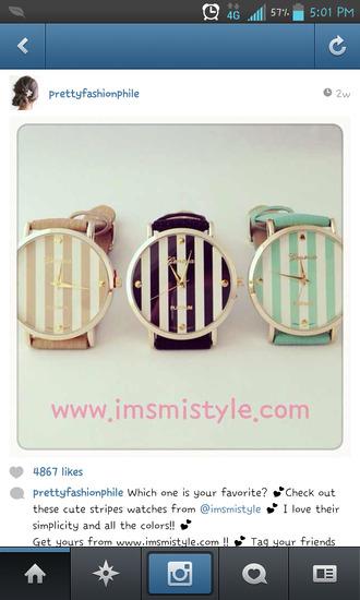 jewels tan cute watch stripes