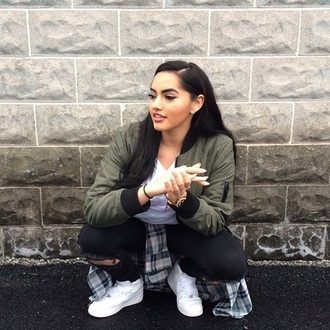 jacket bomber jacket jeans shoes olive green jacket theerealkarlaj green black bomber jacket cute goals style green jacket