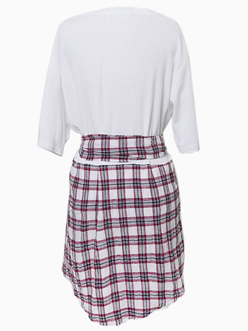 2 in 1 Dress with Tied Plaid Skirt - Choies.com