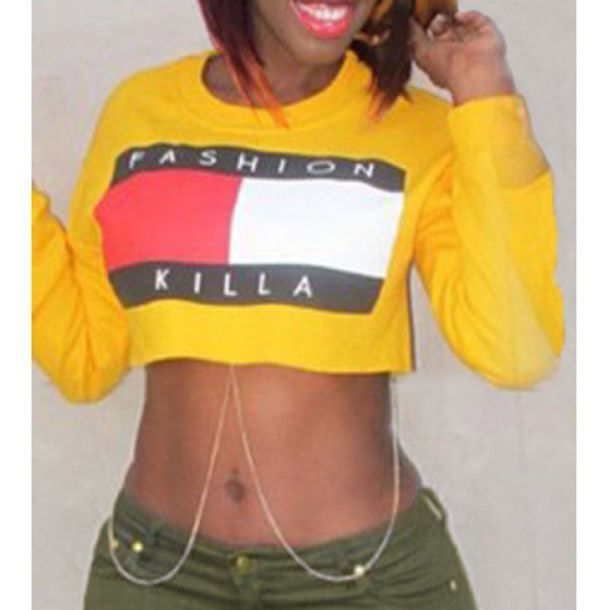 sweater fashion killa tommy hilfiger yellow rose wholesale swag cropped hoodie army green body chain