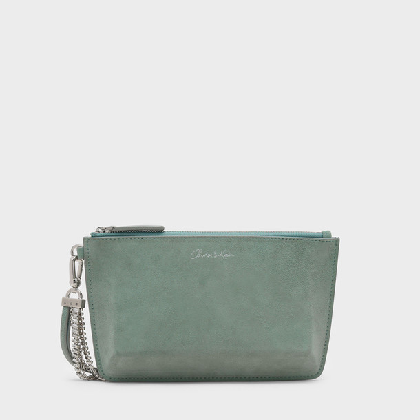 leather clutch zip clutch leather green bag