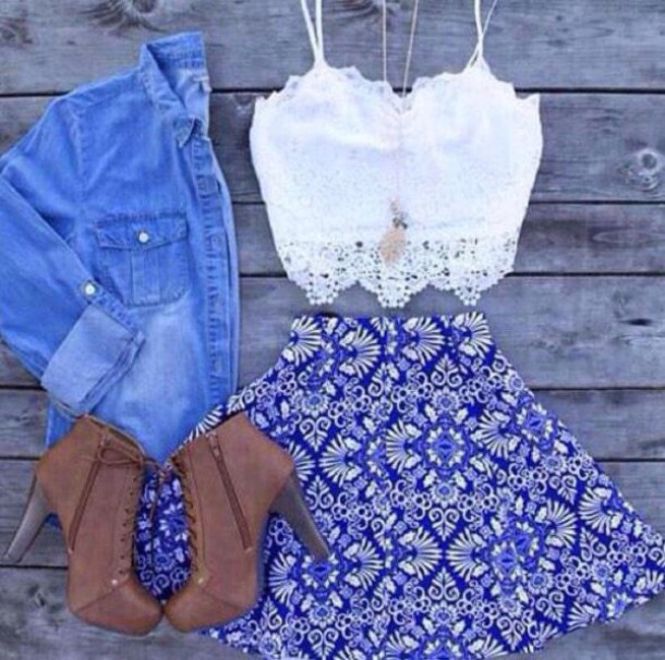 skirt blue skirt white skirt blue and white skater skirt aztec print skirt shoes