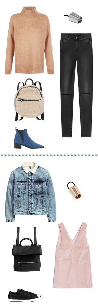 sweater denim boots black ripped jeans black converse fall outfits bff co-ordinates pink dress leather backpack shearling jacket shearling denim jacket shearling metallic hair accessory jacket dress bag shoes hair accessory blouse