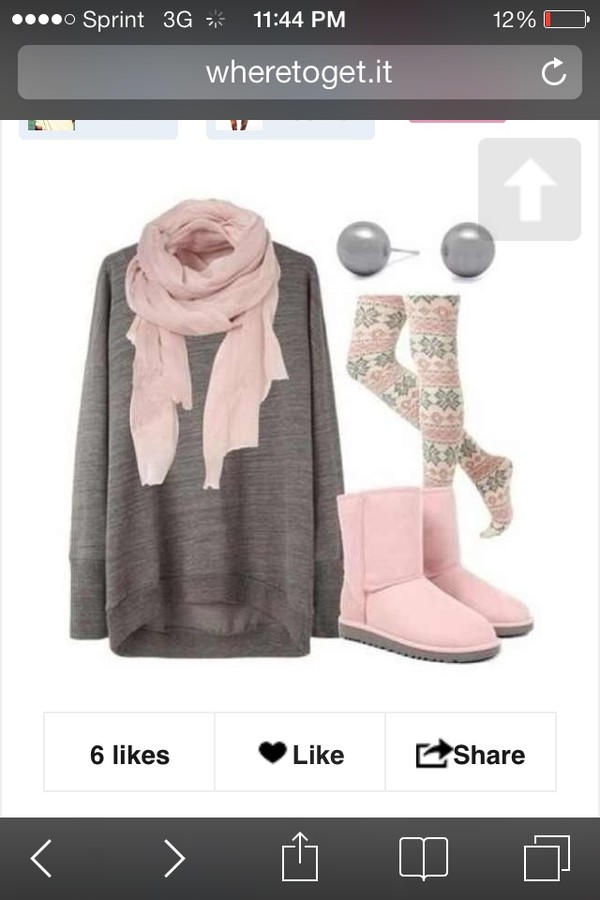 shoes jeans scarf sweater pants shirt fashion boots pink leggings oversized sweater tights printed tights printed leggings ugg boots grey sweater grey aztec leggings pattern outfit