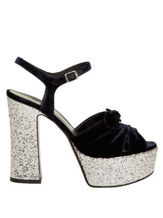 bow candy sandals platform sandals velvet silver navy shoes