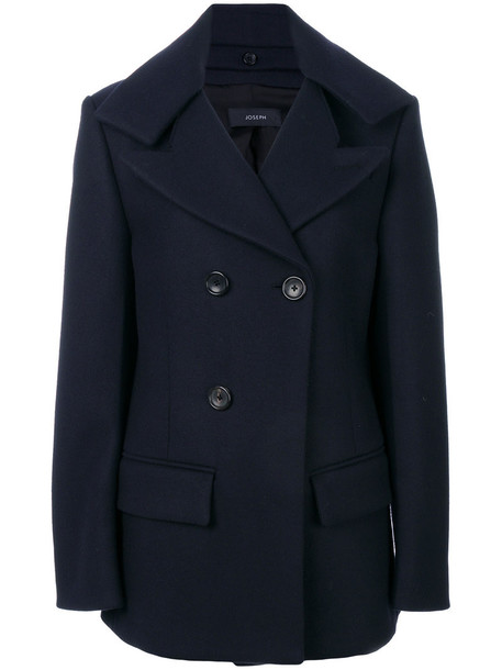 coat double breasted women cotton blue wool