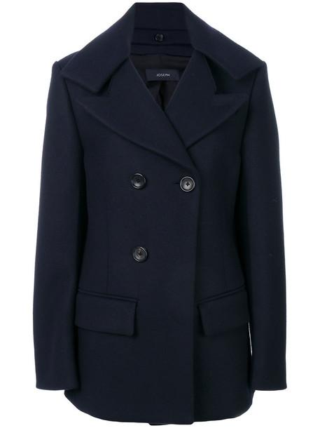 Joseph coat double breasted women cotton blue wool
