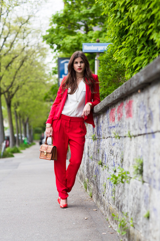 jacket red womens suit peg leg power suit pants red pants blazer red blazer shirt white shirt bag camel bag office outfits blogger shoes pumps red pumps high heel pumps pointed toe pumps spring outfits two piece pantsuits matching set