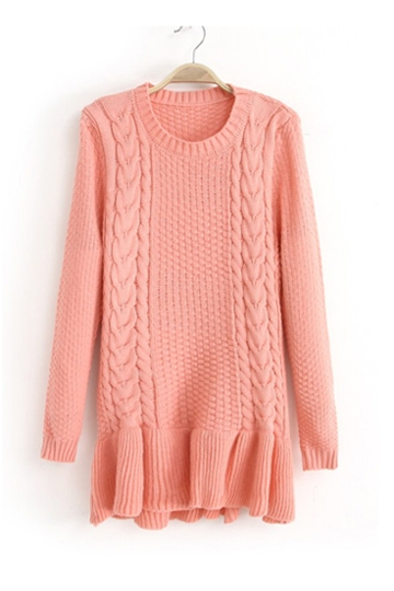 Beautiful Hem Twist Braid Sweater [FKBJ10307]- US$22.99 - PersunMall.com