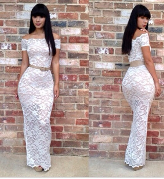 dress long lace white dress