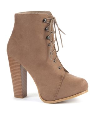 Light Brown Lace Up Heeled Platform Ankle Boots