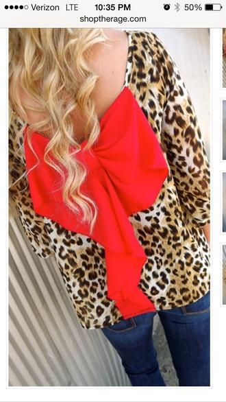 blouse leopard print bow