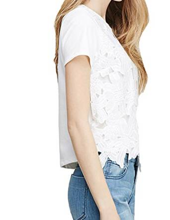 haoyihui Womens Comfy Short Sleeve Lace Tee shirt Blouses Tops at Amazon Women's Clothing store: