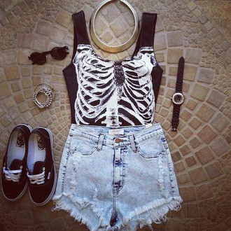 t-shirt top summer shorts jeans sunglasses vans black bones jumpsuit skeleton