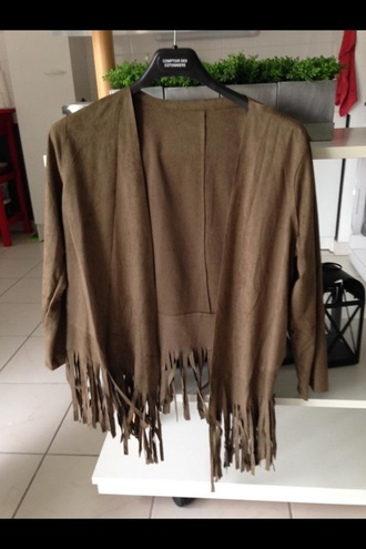 jacket suede fringes hippie