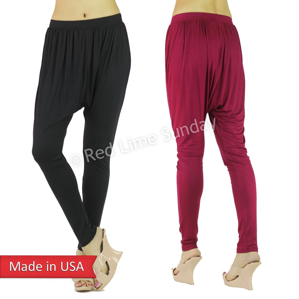 Color Low Drop Crotch Hippie Boho Yoga Lounge Slouch Genie Harem Pants Bottom US