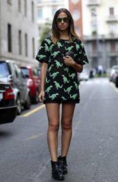 shirt,sunglasses,shorts,shoes,high heels,black,green,Dinosaur print