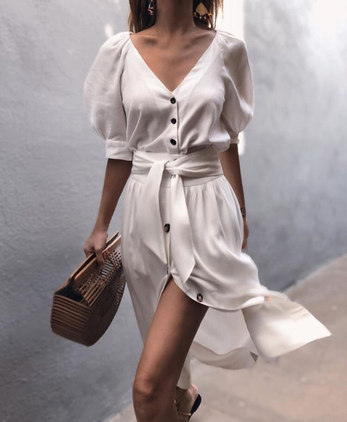 dress mini dress white white dress short sleeve dress bow bow tie dress buttoms button up puff sleeves v neck v neck dress cut-out casual elegant summer summer dress summer outfits spring spring outfits holiday dress summer holidays