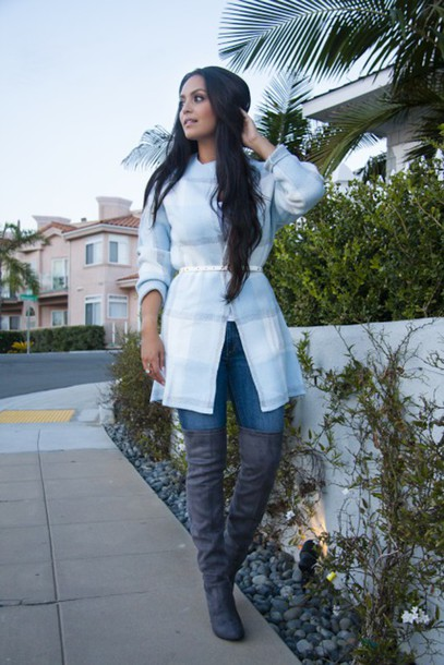 vanessa balli blogger jeans suede boots grey boots fall jacket light blue  fall outfits - Jacket: Vanessa Balli, Blogger, Jeans, Suede Boots, Grey Boots