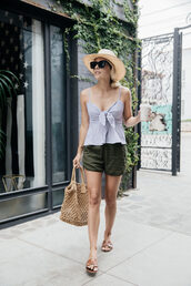 hat,straw hat,top,skirt,shoes,bag