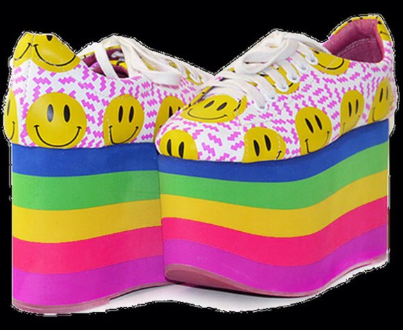 smiley face shoes 90s platform shoes rainbow