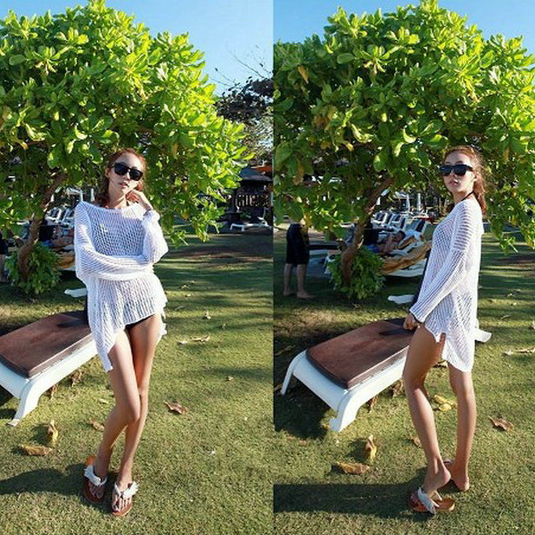 2014 loose mesh beach dress irregular outer smock  bikini pullover-in Dresses from Apparel & Accessories on Aliexpress.com